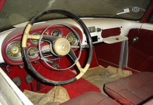 View of a vintage Alpha Romeo Convertible Dashboard White Red Interior